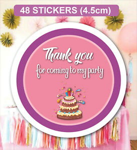 48 Birthday Party Bag Stickers Sweet cone Labels Cake