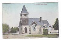 1912 SHELTON NE METHODIST CHURCH HOMES VINTAGE POSTCARD NEBRASKA CLARK SIDNEY !!