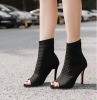 Stylish Womens Ankle Boots High Stiletto Heel Shoes Sexy Peep Toe Knit Party