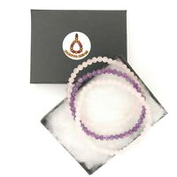 3 Elegant Genuine Gemstone 4mm Bracelet 1 Amethyst &2 Rose Quartz Valentine 393