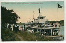 Steamer Alberta Riverside Park Landing Winnipeg Manitoba Canada 1910c postcard