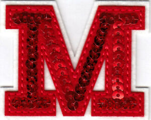 """LETTERS - Red Sequin  2"""" Letter M Iron On Patch"""