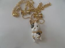 N031 Lovely Brand Chic Betsey Golden French Bulldog Rhinestone Bow Necklace +