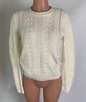 Banana Republic Womens Sweater Ivory Merino Wool Alpaca Blend Crew Neck Size M
