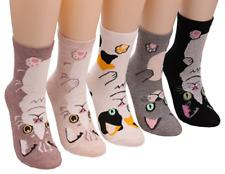 5 Pairs Womens Cat Design Cartoon Casual Cotton Animal Crew Socks New Free ship