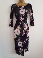 NEW Ex Wallis 14 18 Black White Wrap Skirt Pink Floral Print Shift Midi Dress