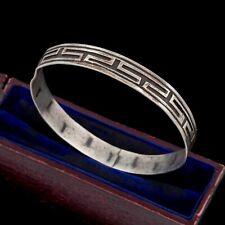 Antique Vintage Art Deco Sterling Silver Mexican Geometric Bangle Bracelet 11.2g