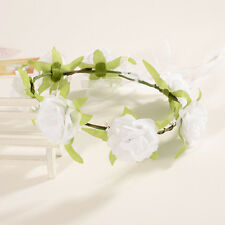 White Boho Floral Flower Womens Bride Hairband Head Band Wedding Party Garland