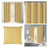 Ochre Eyelet Curtains Mustard Geometric Lined Ring Top Ready Made Curtain Pairs
