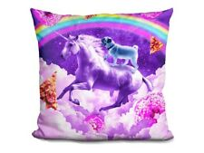 Rainbow Space Pug Riding A Unicorn On a Cloud with Donuts And Pizza THROW PILLOW