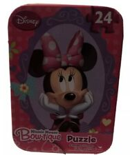 New listing New Disney Minnie Mouse Bow-tique Puzzle Tin Box Pink 24 pieces Travel Bows