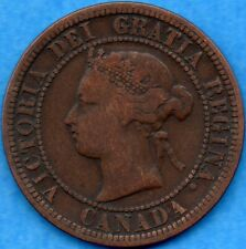 Canada 1876 H 1 Cent One Large Cent Coin - VG/F