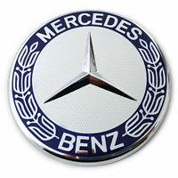 1 x Mercedes-Benz MB Stern Abdeckung Emblem Motorhaube Blau Silber