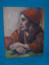A BEAUTIFUL OIL PAINTING BY L. MARTIN OF A GYPSY ? GREEK ? WOMAN IT HAS THE LOOK