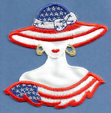 Patriotic - Fashion Patriotic Lady in Red, White & Blue Iron On Applique