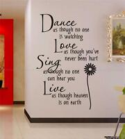 Dance love sing live Wall Quotes decals Removable stickers decor Vinyl home art