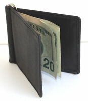MEN'S GENUINE LEATHER SPRING TYPE MONEY CLIP Front Pocket Plain Bifold Wallet
