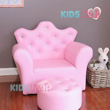 PINK GIRLS Toddlers Bone Leather / CRYSTAL PRINCESS SOFA Kids CHAIR w/ FOOTSTOOL