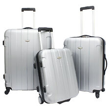 3-Piece Silver Rome Hardside Lightweight Spinner Rolling Luggage TSA Lock Set