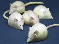 BEAUTIFULLY TACTILE FAIR TRADE HAND CARVED WOODEN MOUSE WHITE MICE 12.Cm