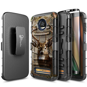 For Motorola Moto Z2 Play/Z2 Force Case Holster Belt Clip Cover + Tempered Glass
