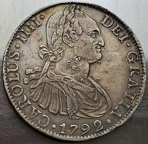 8 Reales 1792 Chop Marks FM Charles IV Mexico SPANISH COLONY High Grade RRR!!!!