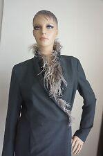 NEW Brunello Cucinelli Dark Gray/Ostrich Feather Light Jacket Coat IT44/US 8-10