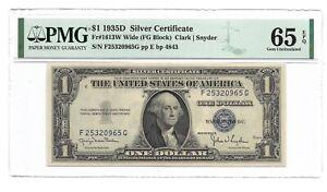 1935D $1 SILVER CERTIFICATE, PMG GEM UNCIRCULATED 65 EPQ BANKNOTE, WIDE