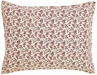 English Cottage Romantic Chic Red Rose Floral Hand-Quilted Standard Pillow Sham