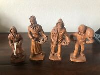Vtg. Lot of 4 Hand Carved Wood Figurines Made In France SIC Handgemalt Decoré