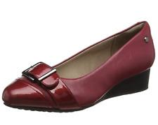Hush Puppies Ellinor Admire Womens UK 5 Wide Fit Dark Red Wedge Heel Court Shoes