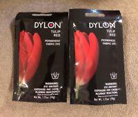 2 Poppy Red / Tulip Red 87048 Dylon Permanent Fabric Dye 50ml-Tulip Red 2 Ship