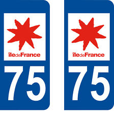 Département 75 sticker 2 autocollants style immatriculation AUTO PLAQUE