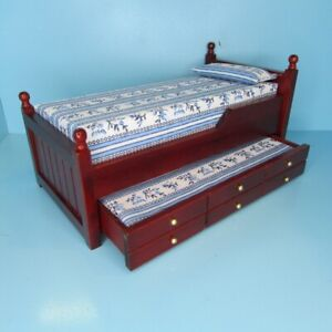 Dollhouse Miniature Wood Trundle Twin Bed in Mahogany with Blue Mattress T3217