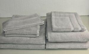 NEW FRETTE 9 PC 7 PC Lanes Border Towels Washcloth Hand Bath Bathmat Fume Gray