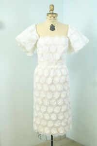 Vintage 80s Victor Costa White Embroidered Organdy Lace Off the Shoulder Dress M