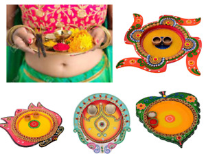 Indian Wooden Puja Thali Decorative Holi Festive Ethnic Home Decor Item Rituals
