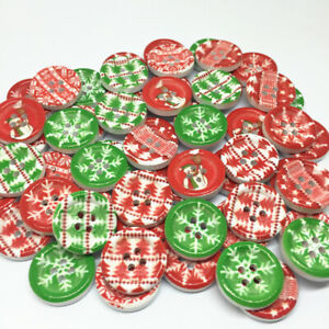 50 18mm CHRISTMAS WOOD BUTTONS  CARDMAKING CRAFT SCRAPBOOK-BUY 5 GET 1 FREE