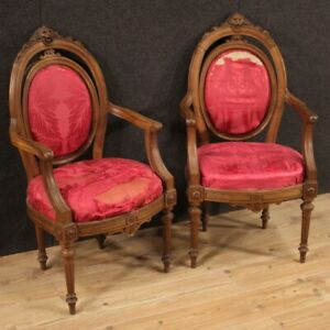Pair Of Armchairs Ancient Furniture Chairs Wooden Nut Louis XVI 800 XIX Century