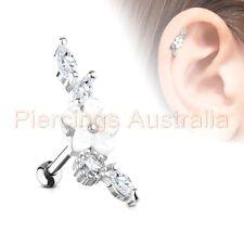 Ring Bar Piercing Stud Body Jewellery 16G Cz Flower Vine Cartilage Tragus Ear