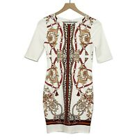 Haute Monde White Chain Printed 1/2 Sleeve Bodycon Dress NWOT Womens L Large
