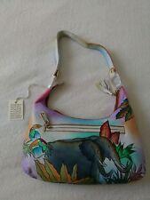 "Womens Genuine Leather Hand Painted ""Rain Forest"" Shoulder Bag Hobo Tote Handbag"