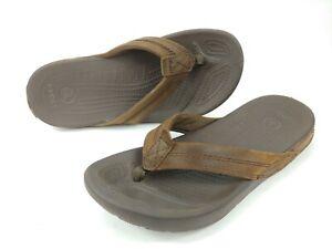 Crocs Slip On Flip Flop Sandals Mens Sz 7 / Women's Sz 9 Brown Leather 11342