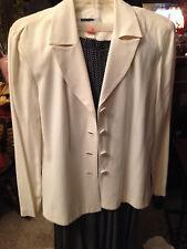 Women'S Vintage White Blazer With Polka Dot Long Skirt Button Detailing Size 12