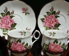 Signed Rosina English Roses Four Piece Set - 2 Teacups 2 Saucers