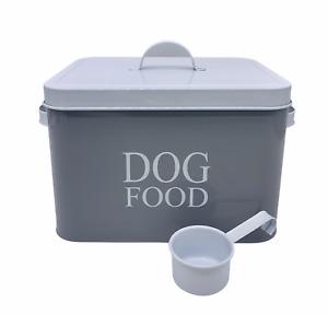 Pet Food Dog Grey Treat Traditional Metal Storage Tin & Scoop