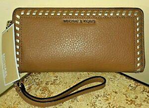 Michael Kors LAURYN 32S7ML0T3M TRAVEL CONTINENTAL Leather Wristlet NWT Tan/Camel