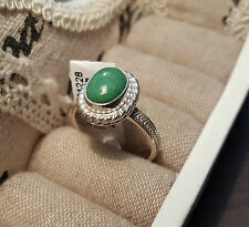 Chinese Green/Red Jade Solitaire Ring set in Hand Crafted Sterling Silver