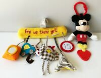 Stroller Car Seat Travel Hanging Toy+Disney Baby Mickey Mouse Crinkly Activity
