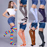 Lady Striped Stripey Over The Knee Socks Womens Long Neon Colour Fancy Dress
